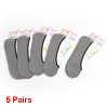 5 Pairs Striped Elastic Cuff No Show Low Cut Boat Loafer Socks Black White
