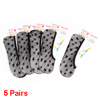 Black Mesh Stars Pattern Stretchy Low Cut No Show Footsie Boat Socks 5 Pairs