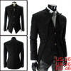 Men Pure Black Two-Button Front Closure Irregular Hem Blazer Jacket S