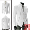 Man Deep V-Neck Long Sleeve Two-Button Front White Blazer Jacket S