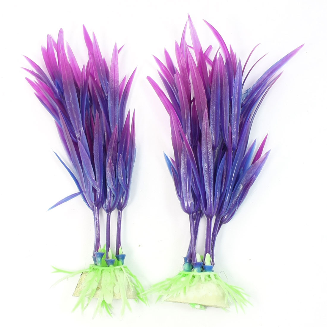 2 Pcs Blue Purple Plastic Manmade Water Aquarium Plant Decor 4""