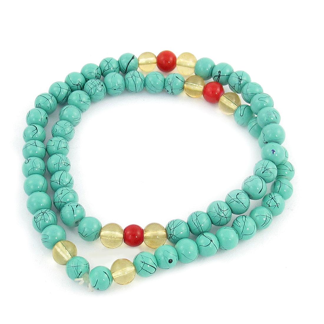 Cyan Beads Decor Elastic Band Adjustable Wrist Bracelet for Lady