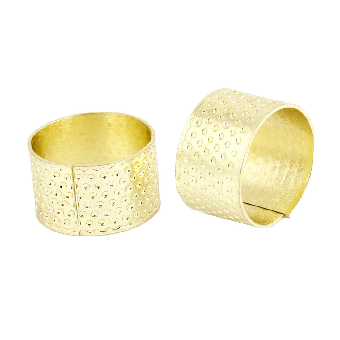 Tailoring Sewing Gold Tone Metal Reeded Thimble Ring 2 PCS