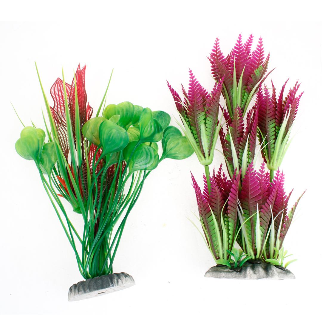 "2 Pcs Fuchsia Green Fish Tank Aquarium Decor Plastic Water Plants 10.2"""