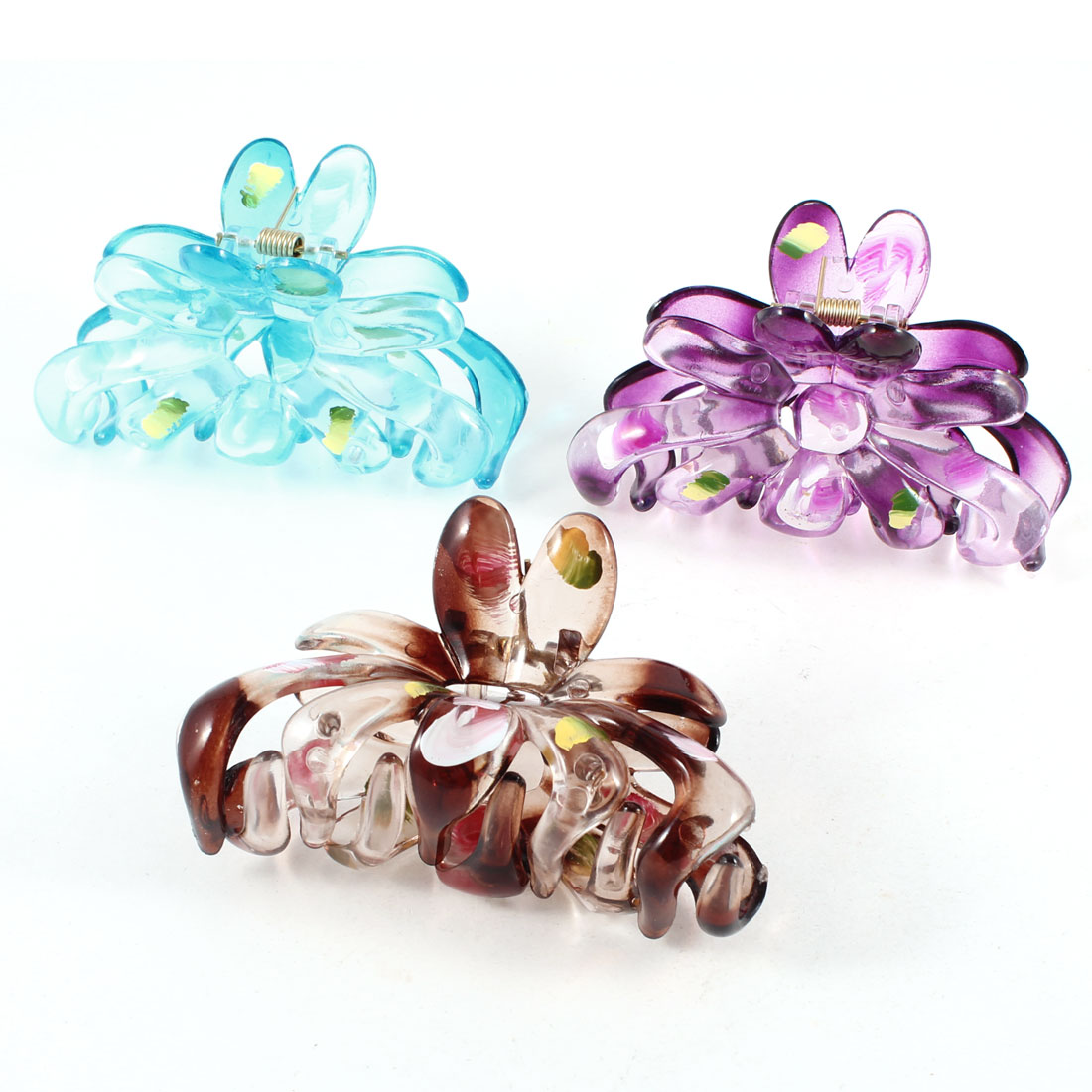 Lady Purple Brown Blue Plastic Flowers Vine Design Hair Clip Clamp Ornament 3Pcs