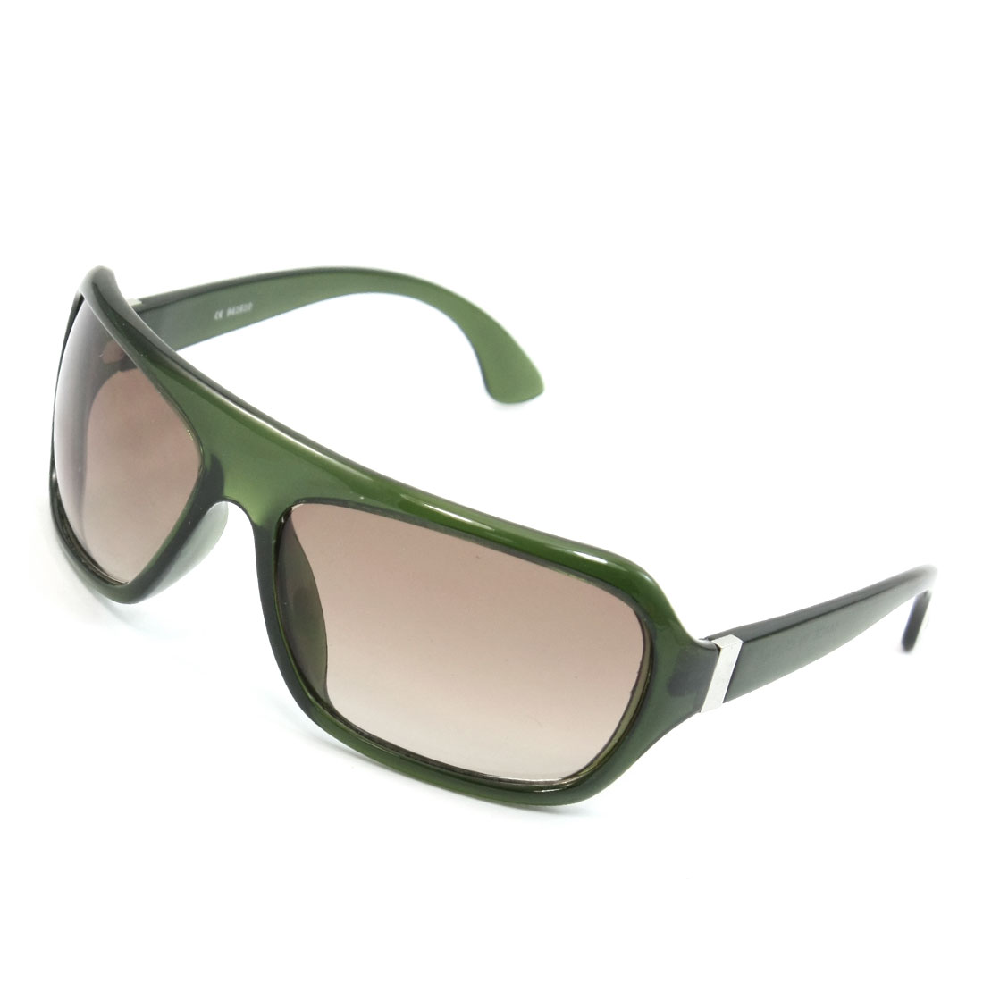 Dark Green Plastic Full Frame Raindrop Shaped Tinted Lens Sunglasses for Lady