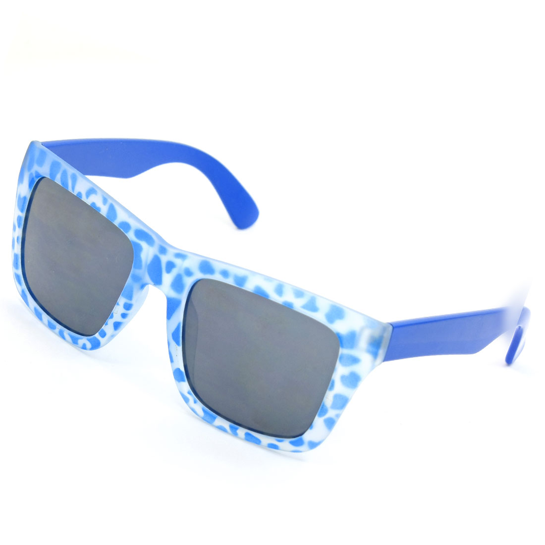 Blue Leopard Pattern Full Frame Square Shaped Lens Sunglasses for Lady