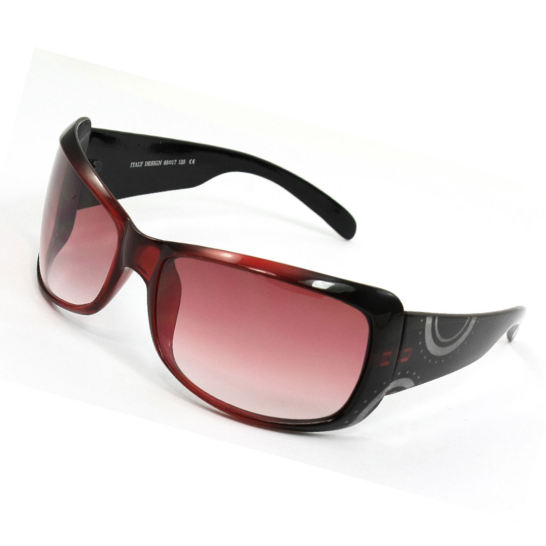 Black Red Plastic Full Frame Rectangle Shaped Lens Sunglasses for Lady