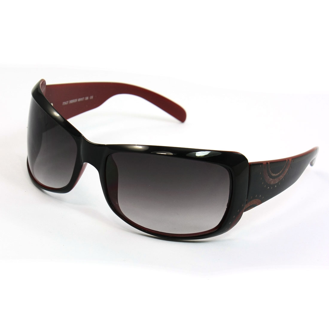 Black Burgundy Plastic Full Frame Rectangle Shaped Lens Sunglasses for Lady