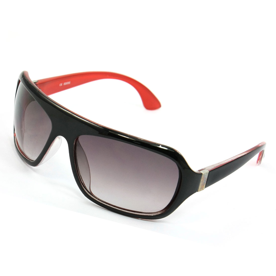 Black Red Plastic Full Frame Teardrop Shaped Lens Sunglasses for Women