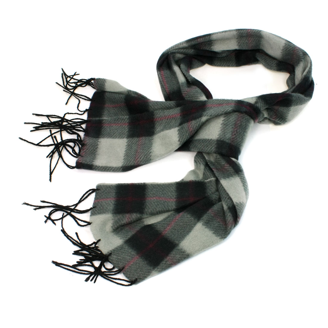 Black Gray Plaids Printed Winter Wearing Scarf for Lady Man