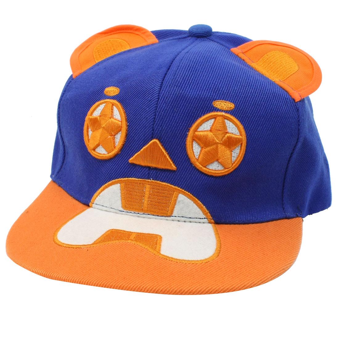 Ladies Man Bear Shaped Adjustable Ball Cap Sun Visor Hat Blue Orange
