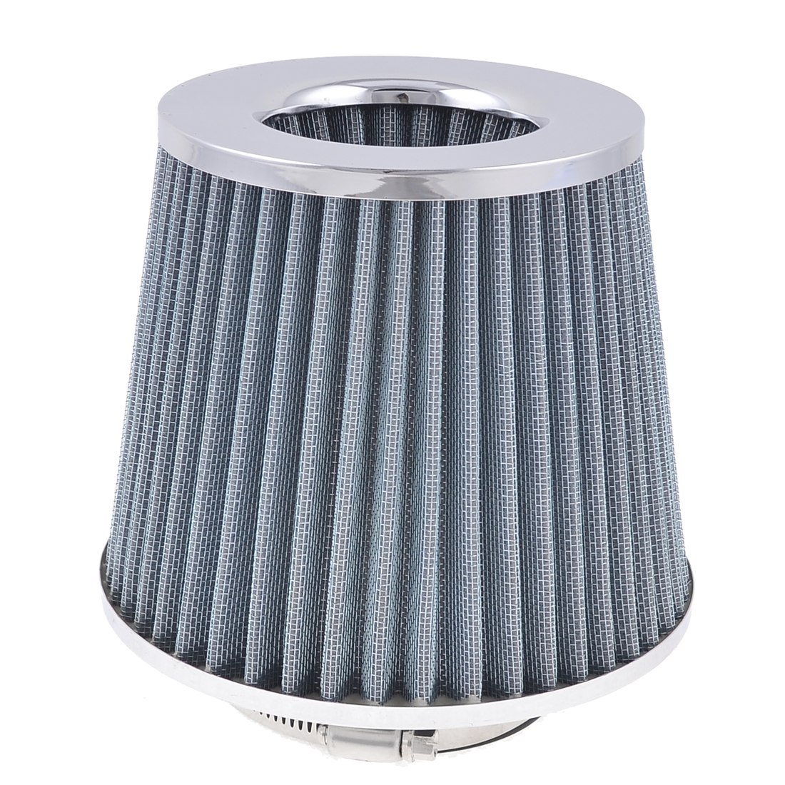 "76mm 3"" Adjustable Hose Clamp Conical Mesh Car Truck Air Filter Gray Silver Tone"
