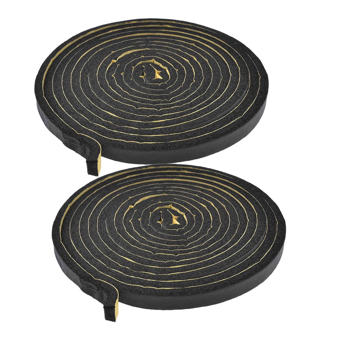 2 Pcs 5 Meters 20mm Wide Black Foam Air Sealed Strip for Car Door