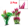 2 Pcs Fuchsia Green Fish Tank Aquarium Decor Plastic Water Plants 10.2""