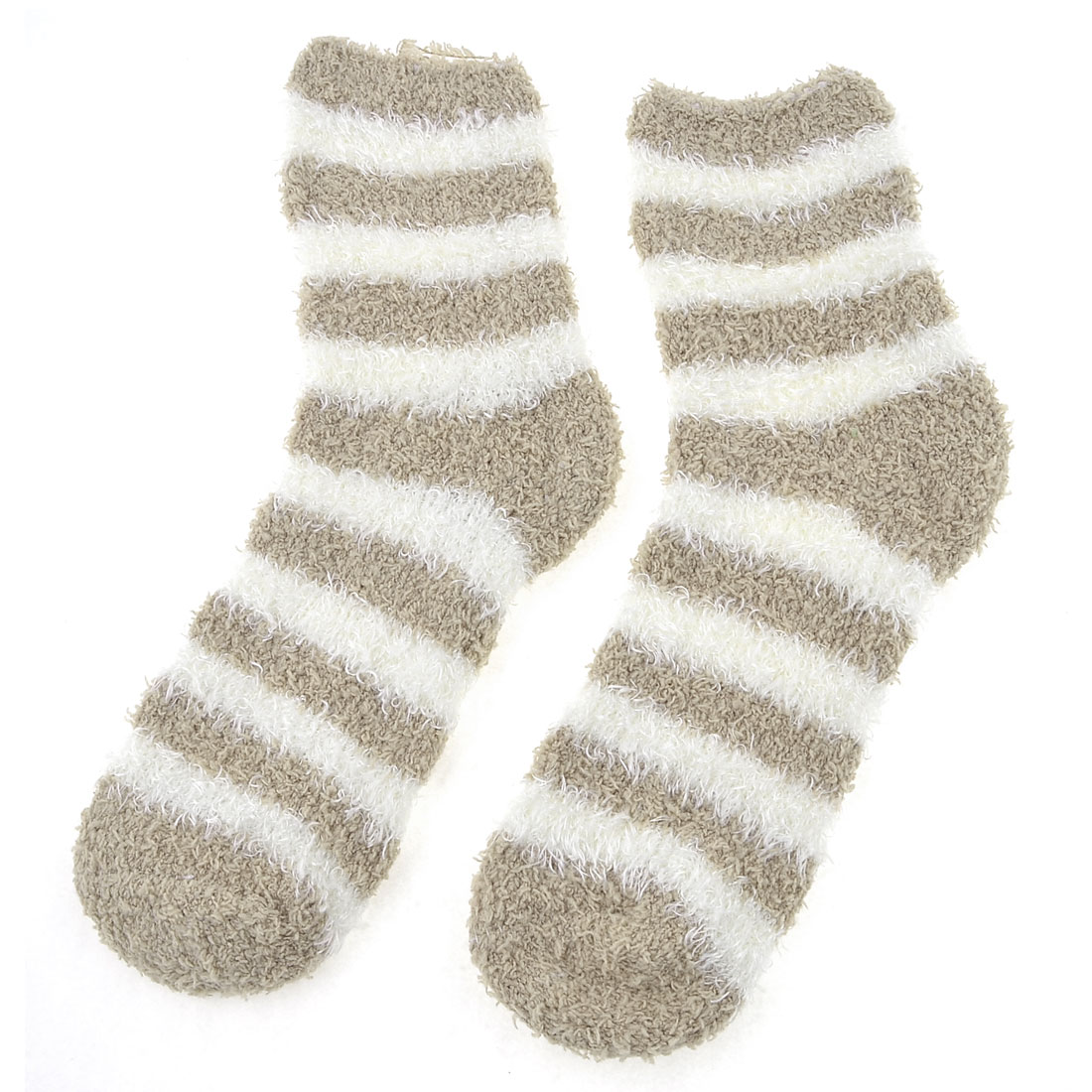 Woman Ankle Length Khaki White Stripe Pattern Fluffy Floor Socks 2 Pcs