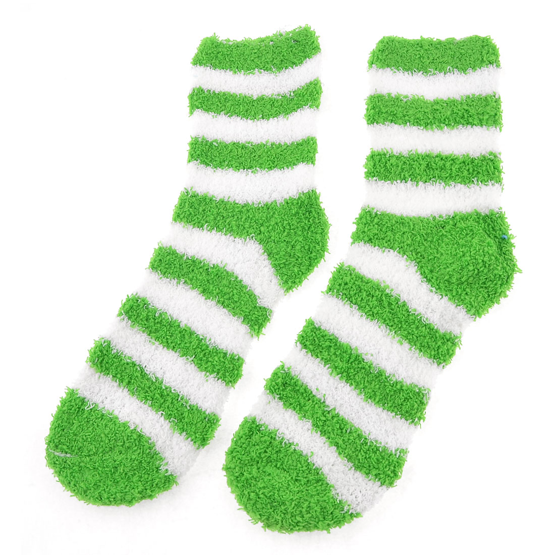 Women Green White Striped Print Fuzzy Terry Warm Indoor Floor Socks Pair