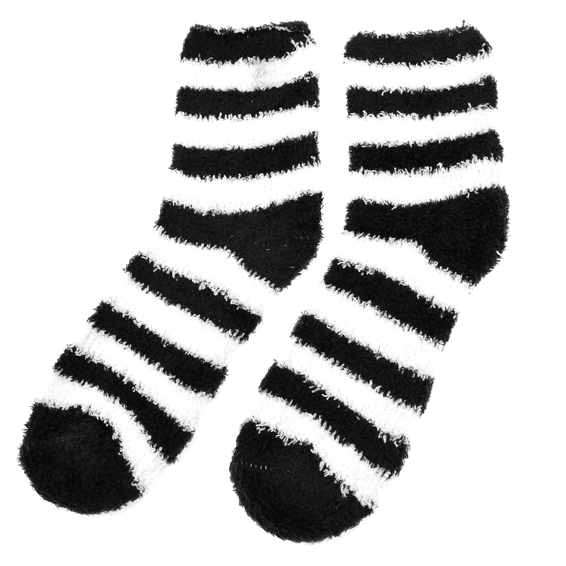Pair Black White Stripes Print Elastic Soft Warm Socks for Ladies