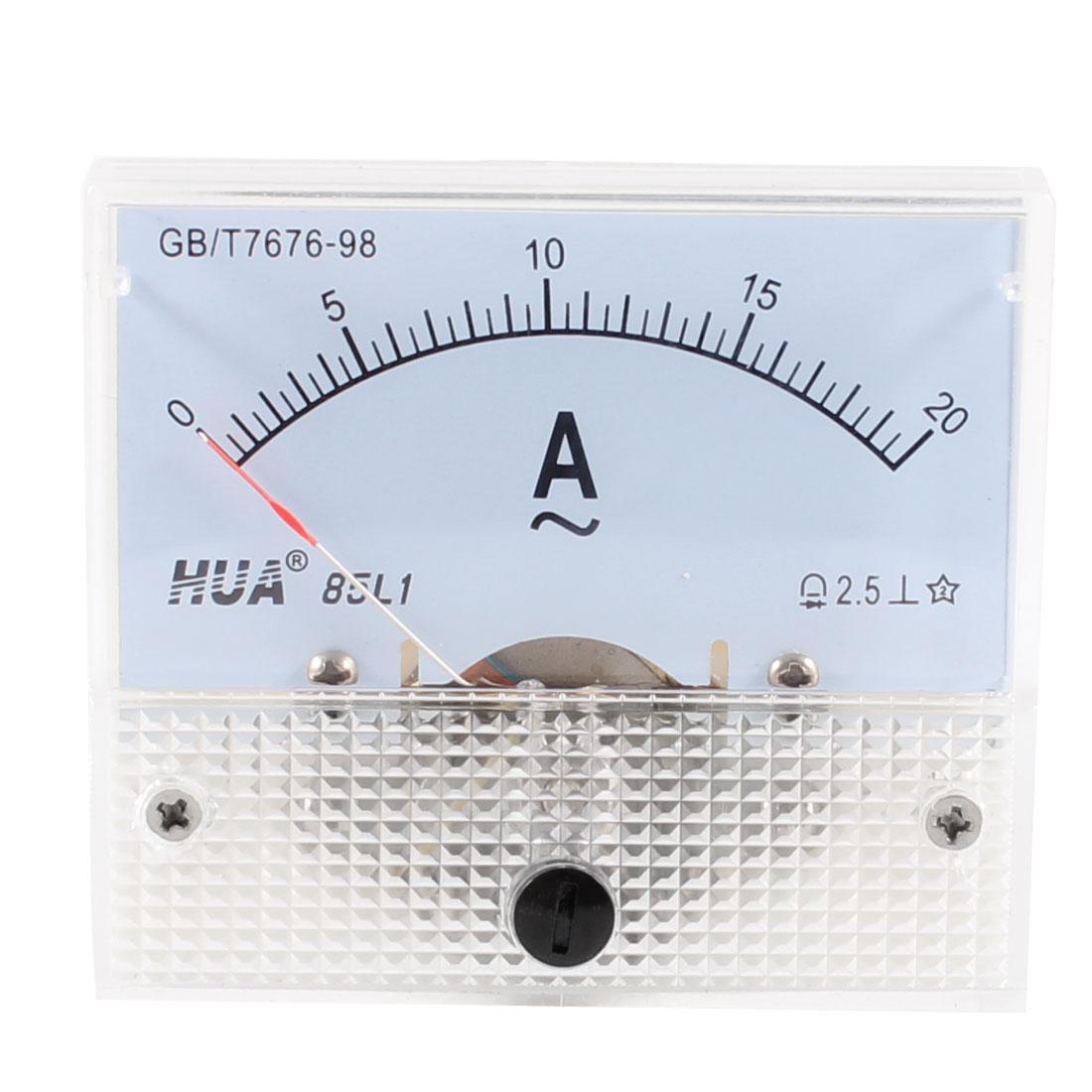 AC 0-20A Rectanglar Analog Panel Ammeter Gauge Class 2.5 85L1