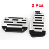 2pcs Silver Tone Black Antislip Car Automatic Gas Brake Pedal Cover