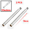 2 Pcs Steel 5 Sections Rotating TV Telescopic Antenna Aerial 19cm for Car