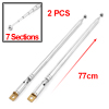 2Pcs Vehicle Car 77cm Length 7 Sections Rotating Rod Telescopic Antenna Aerial