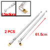 2Pcs Steel 4 Sections Rotating TV Telescopic Antenna Aerial 61.5cm for Car