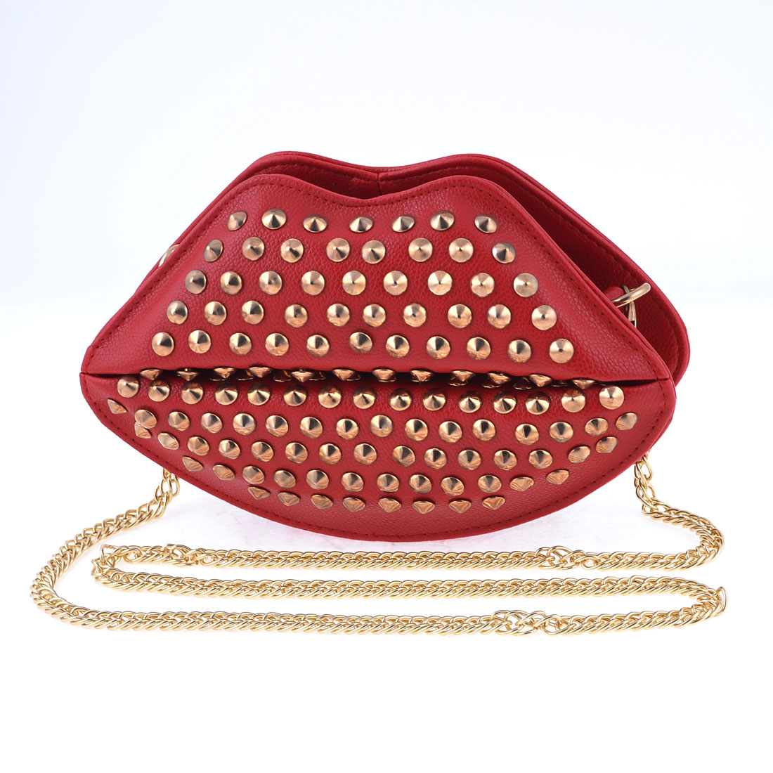 Woman Stud Decor Litchi Faux Leather Red Lip Shaped Shoulder Bag Handbag