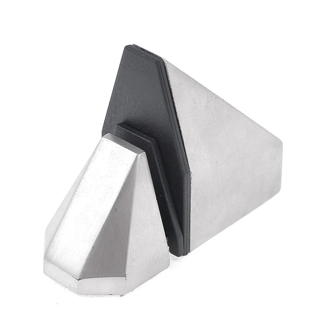 4.2mm Mounted Hole Dia Elbow Shape Glass Shelf Clamp Holder Bracket Silver Tone