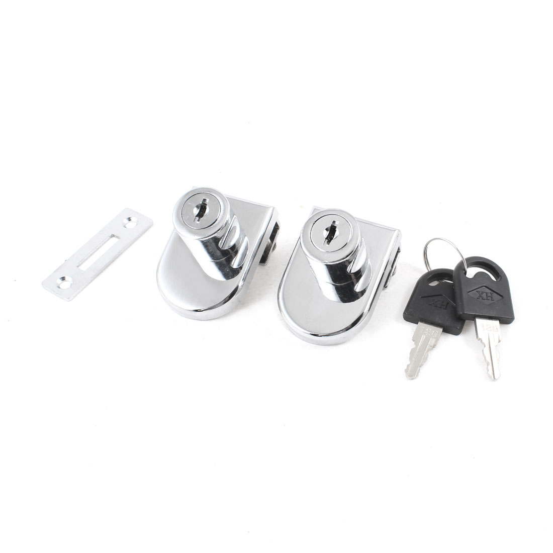 2pcs Showcase Display Cabinet Glass Door Lock Replacement + Keys