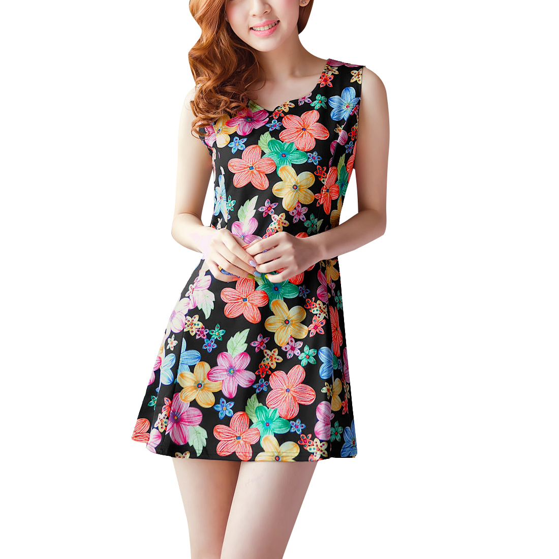 Women Round Neck Sleeveless Flower Print A Line Dress Black XS