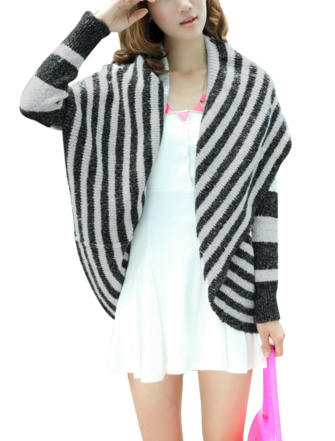 Women Long Sleeve Stylish Winter Sweater Coat Dark Gray Light Gray S
