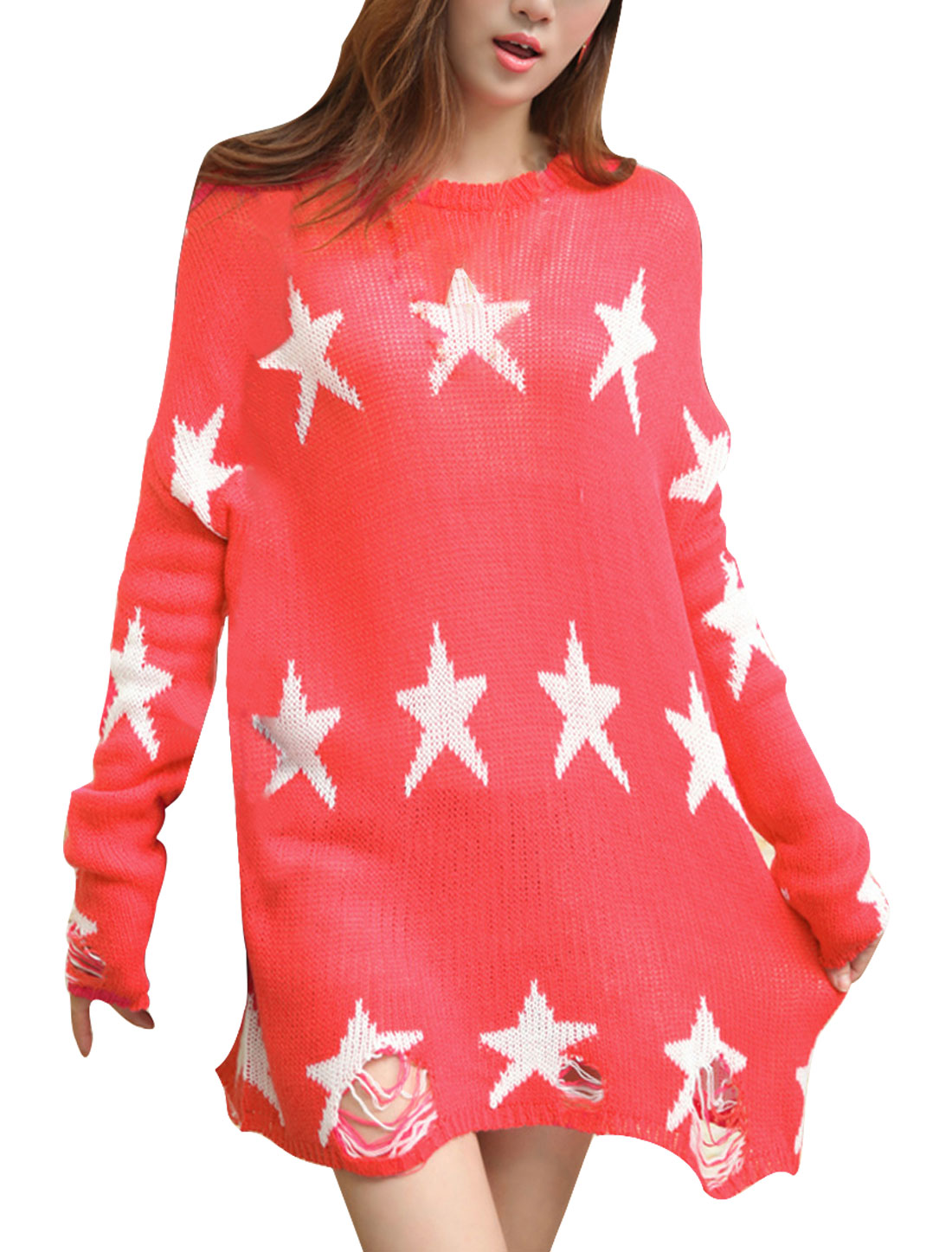Women's Pullover Casual Stars Pattern Stretchy Loose Watermelon Red Sweater S