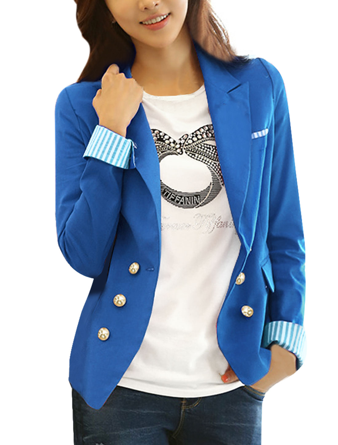 Women Peaked Lapel Long Sleve Stripes Detail Blazer Royal Blue XS