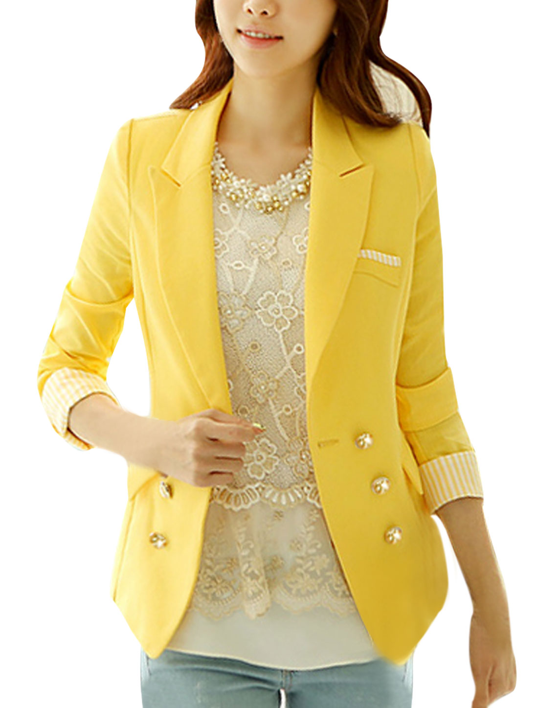 Women Button Down Long Sleve Fake Pockets Chic Blazer Yellow XS