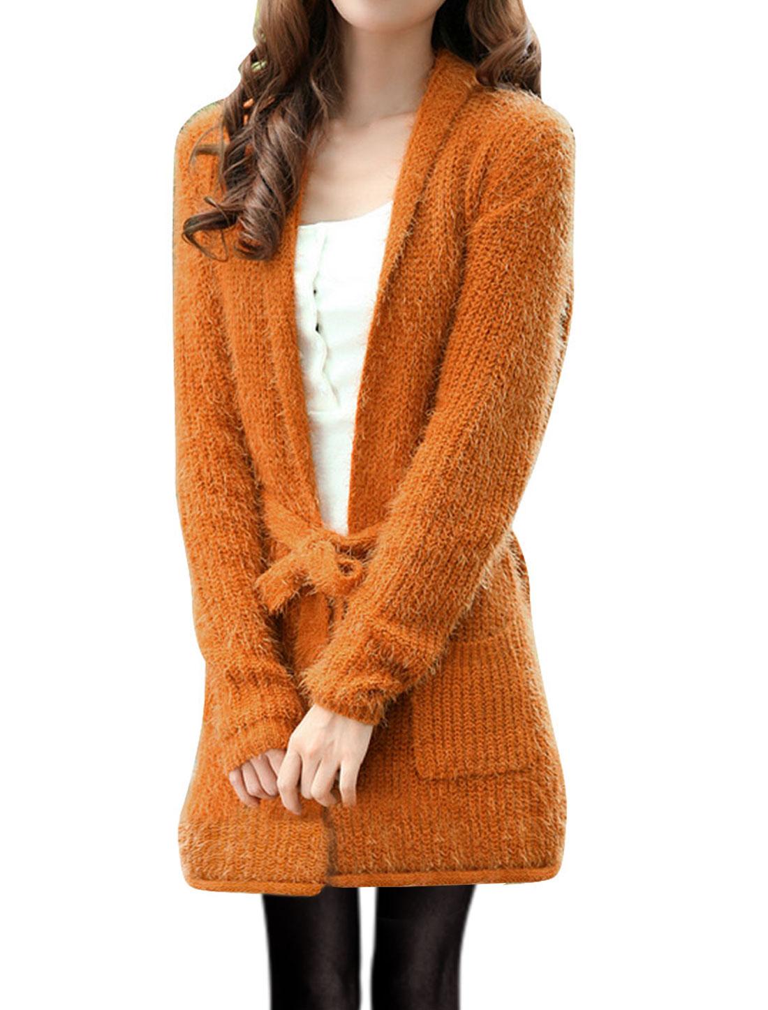 Women Shawl Lapel Open Front Pockets Sweater Coat Dark Orange S