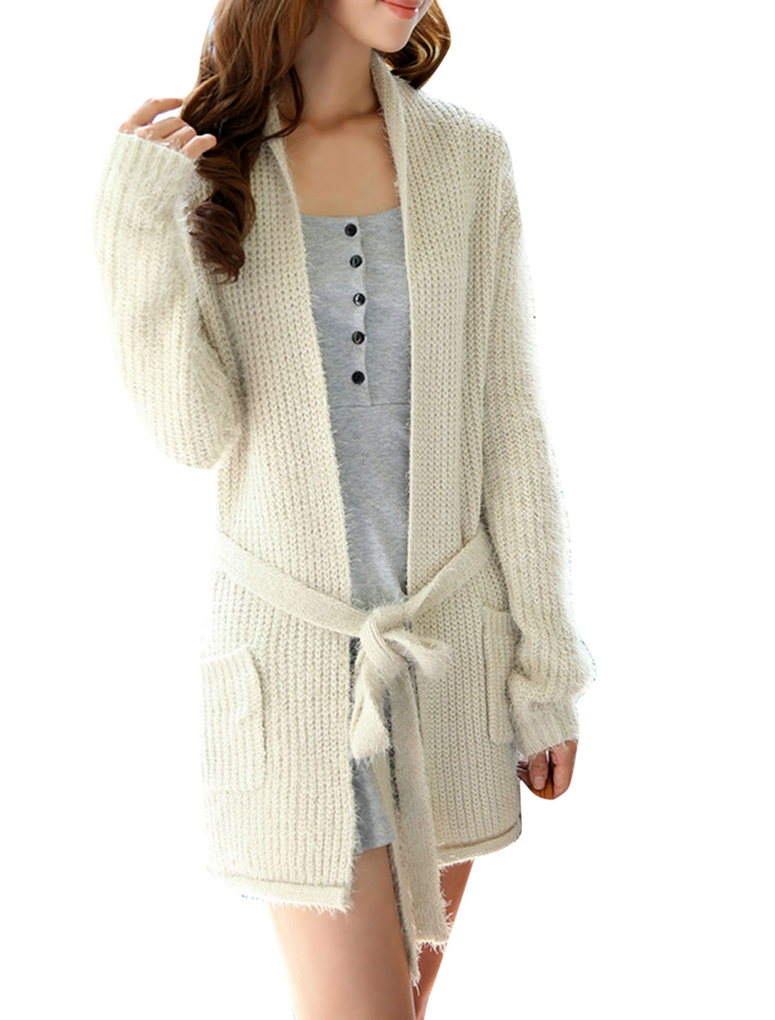 Women Open Front Long Sleeve Self Tie Belt Sweater Coat Beige S