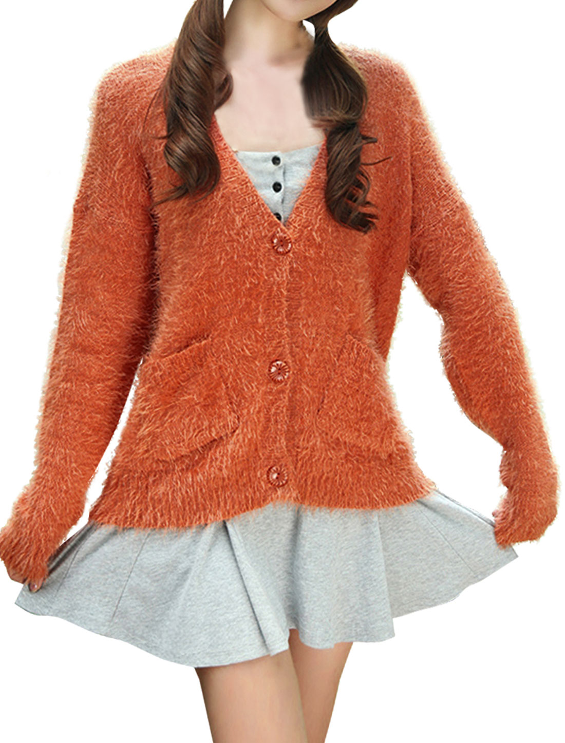 Women's V Neck Single Breasted Well Stretchy Orange Sweater Coat S