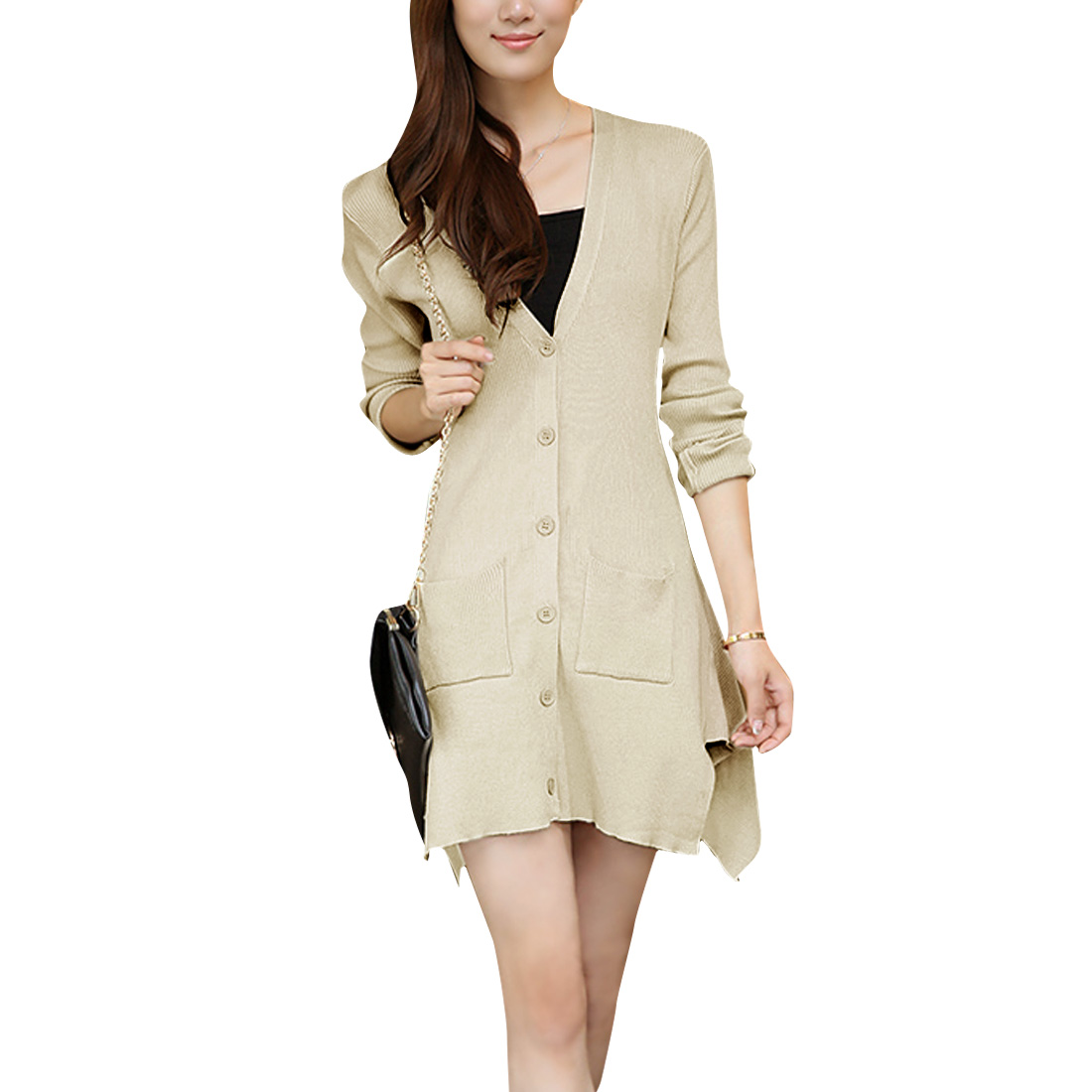 Ladies Deep V Neck Irregular Hem Button Front Beige Cardigan Sweater XS