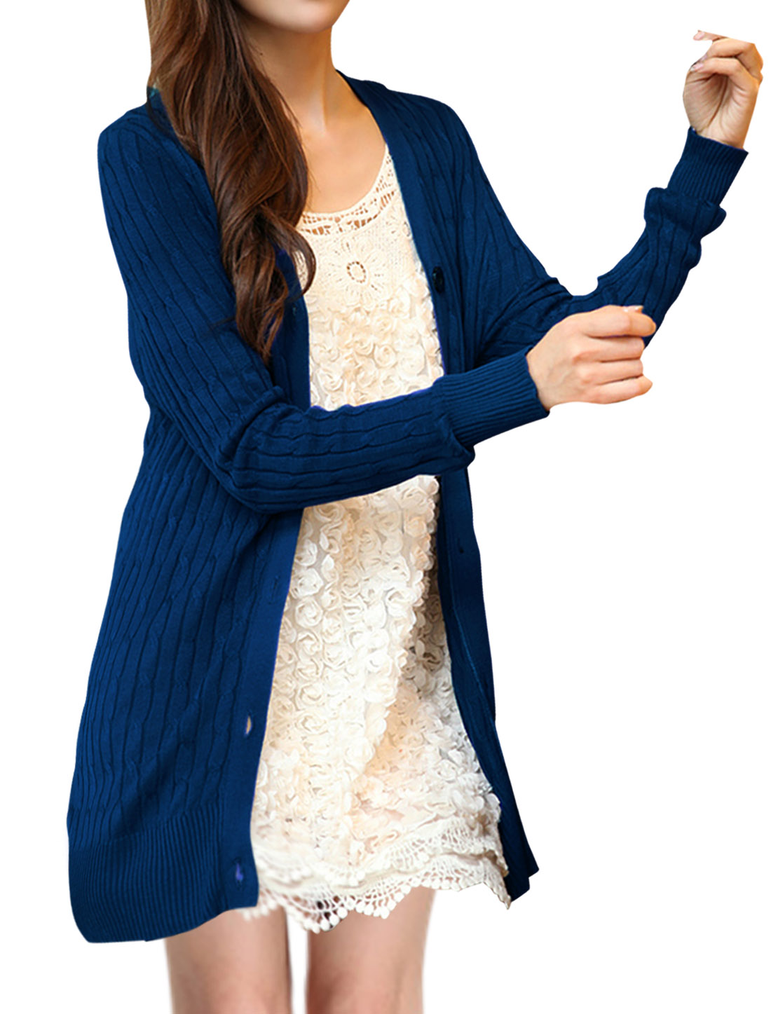 Woman Fashion Pure Royalblue Color Single-Breasted Front Knitted Cardigan S