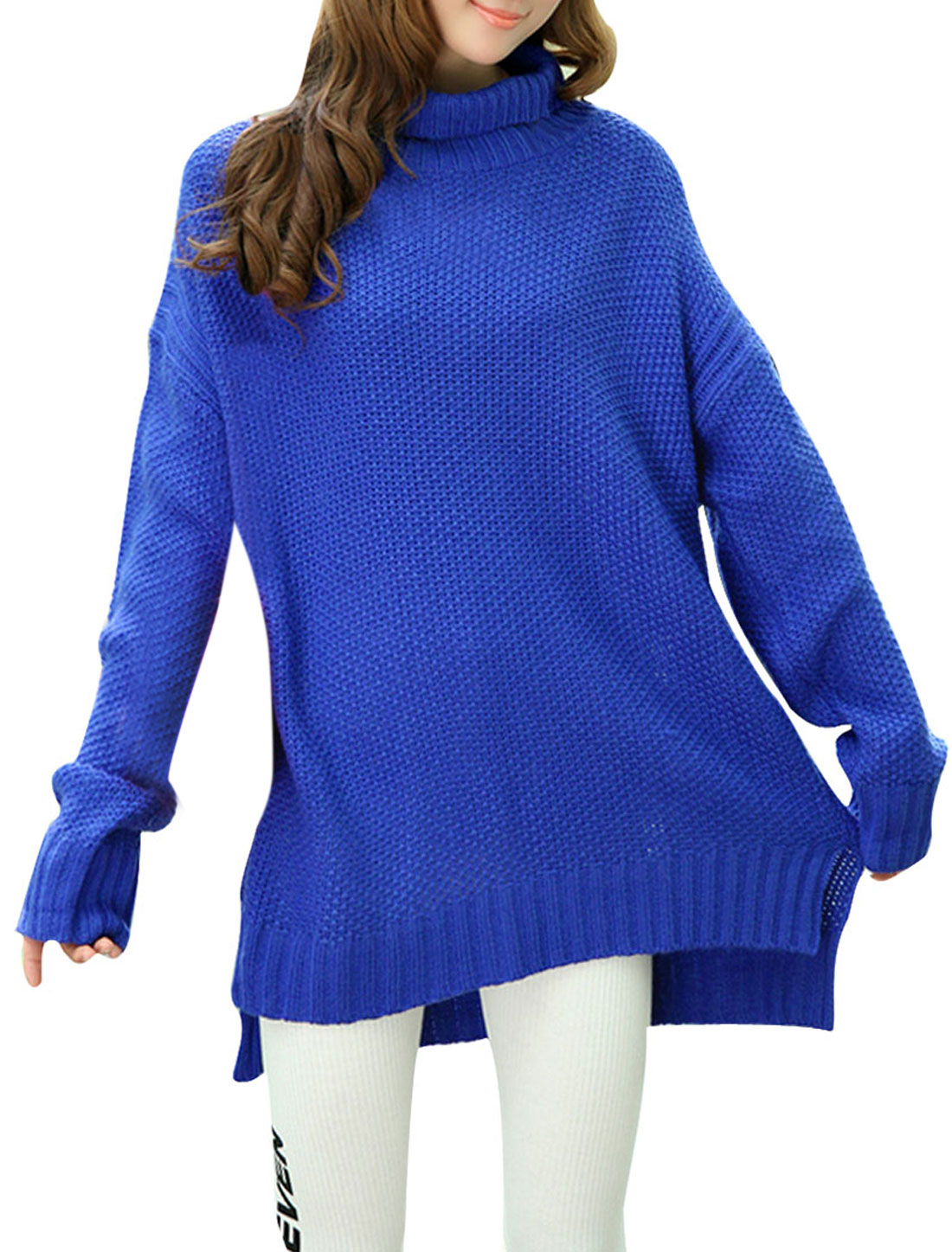 Women Turtle Neck Pullover Split Side Loose Tunic Sweater Royal Blue S