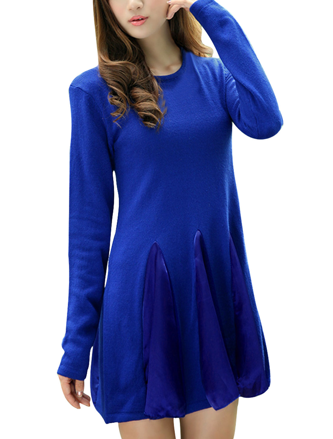 Women Pullover Long Sleeve Panel A Line Sweater Dress Royal Blue XS