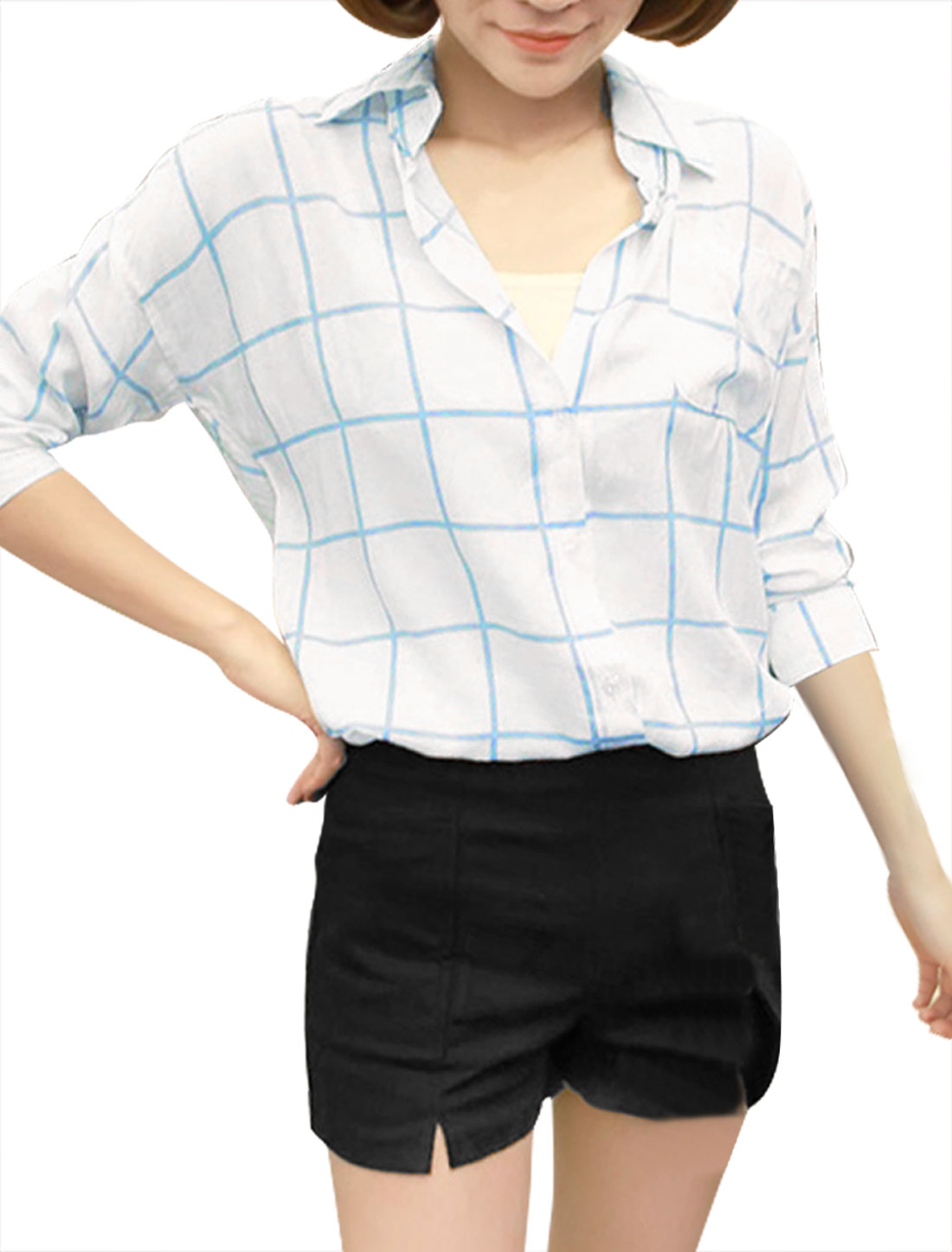 Woman Point Collar Long Sleeved Light Blue White Check Pattern Shirt S