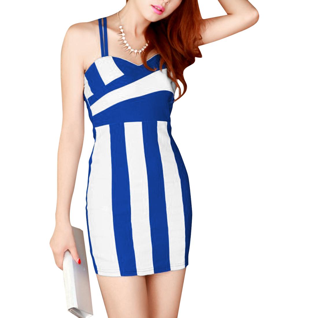Women Crossover Shoulder Strap Sheath Dress Blue White XS