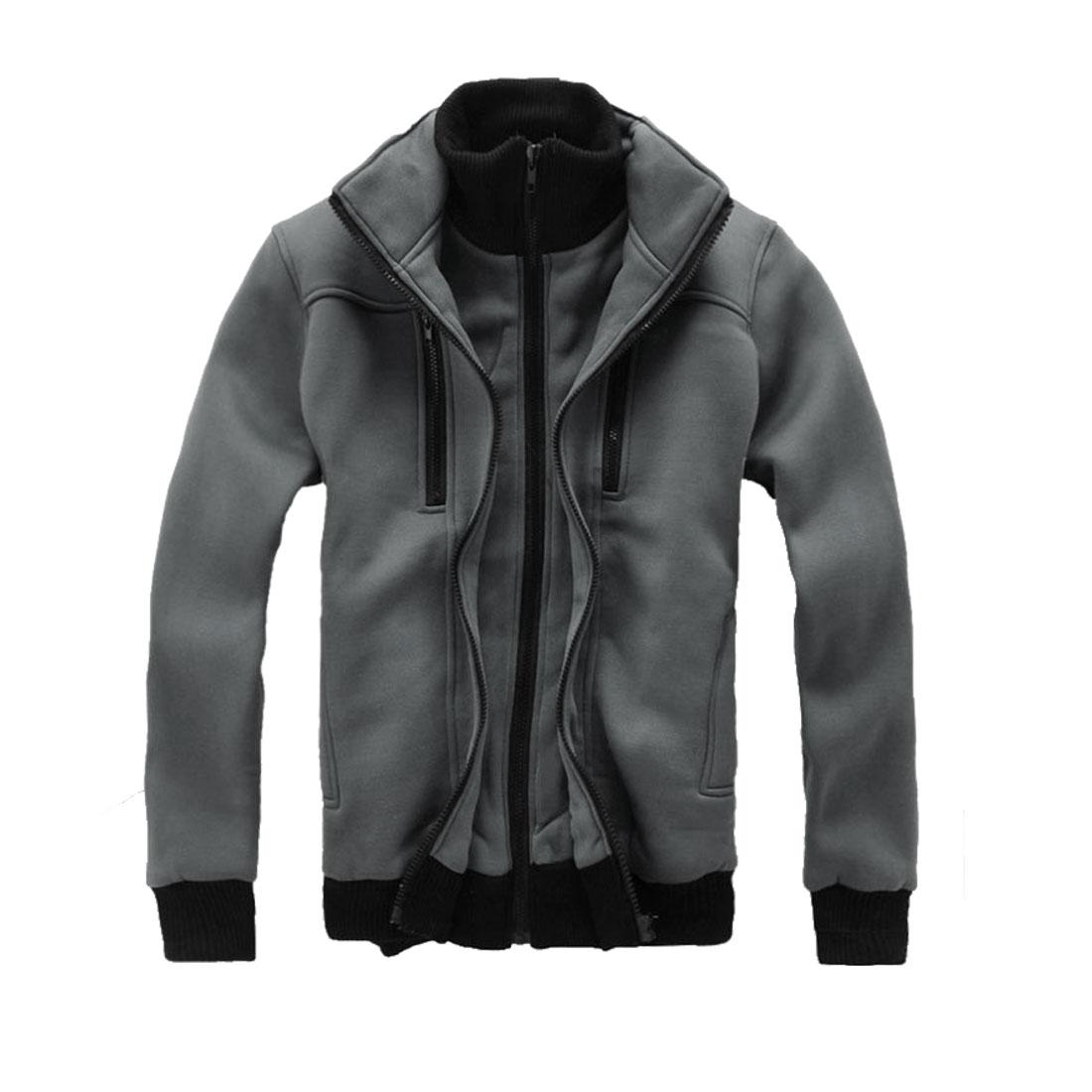 Men Chic Dark Gray Double Zip-Up Front Closure Winter Coat Jacket M