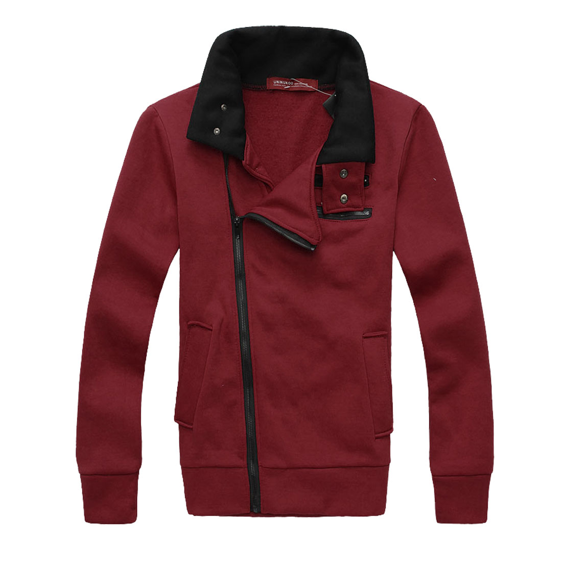 Mans Stand Collar Long Sleeve Slant Zip-Up Closure Burgundy Jacket Coat M