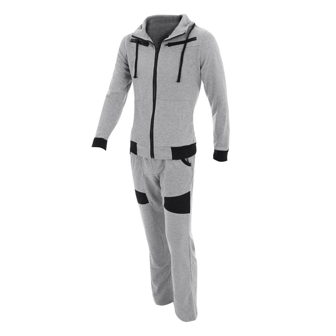 Women Hooded Zip Up Hoodie & Pockets Color Block Pants Light Gray M