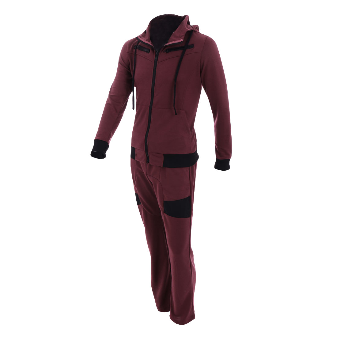 Women Hooded Long Sleeve Hoodie & Drawstring Waist Pants Burgundy M