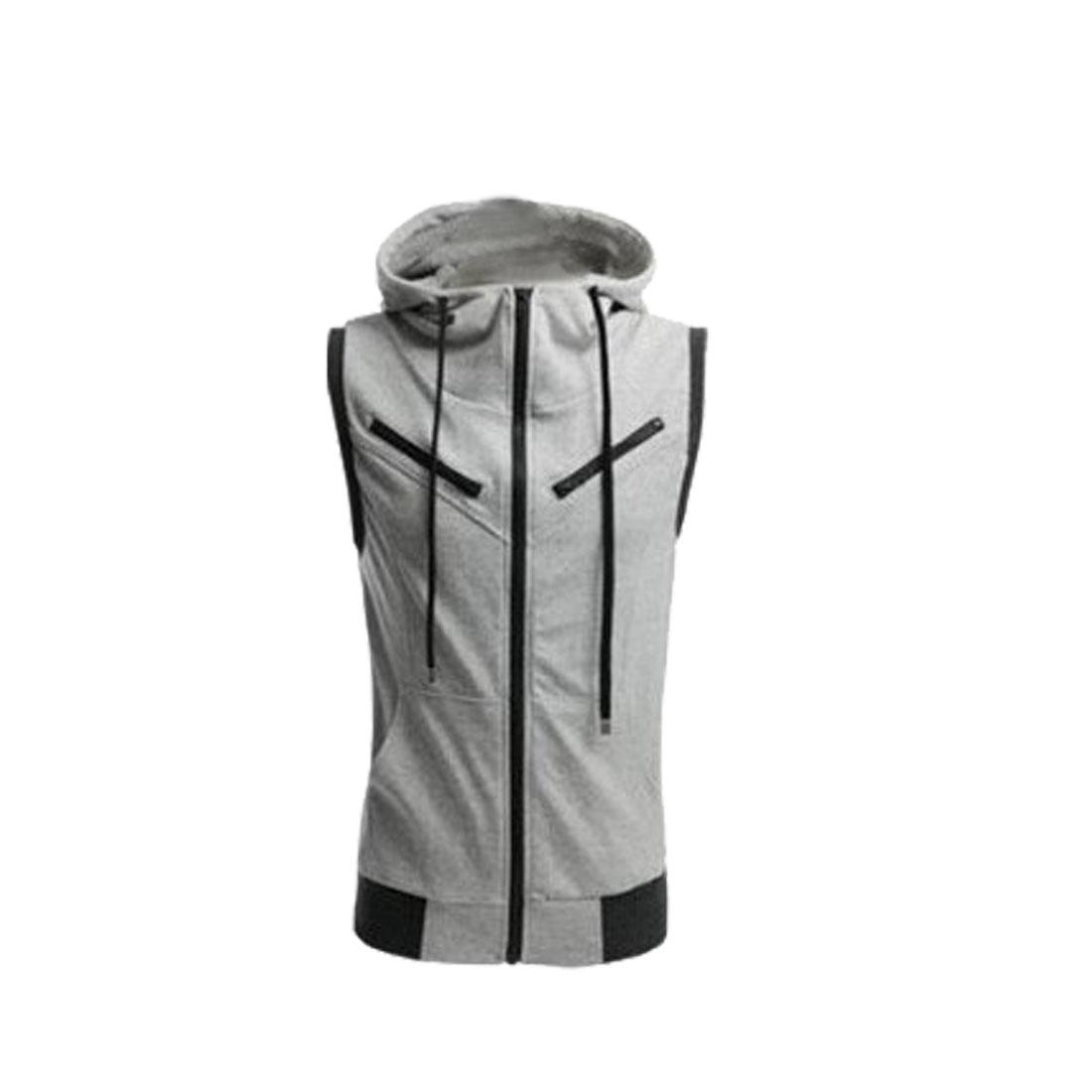 Men's Dark Gray Stylish Zip Up Convertible Collar Vest Coat M