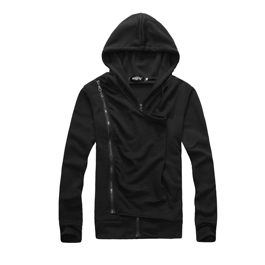 Stylish Pure Black Long Sleeved Panel Front Hooded Coat for Man M